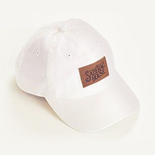 White Hat with Leather Logo Patch Small