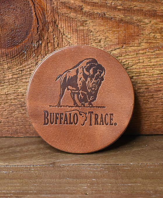 Buffalo Trace Round Leather Coaster