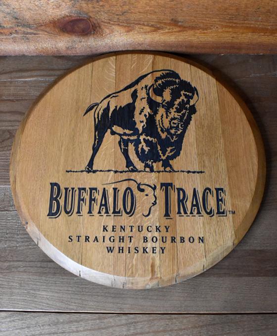 Laser Engraved Standing Buffalo Barrel Head
